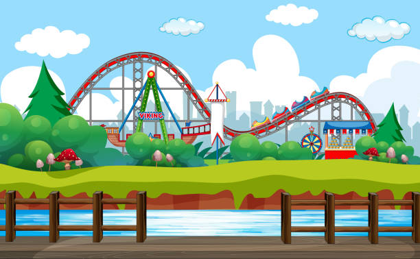 Szenenhintergrundgestaltung mit Fahrten im Zirkus – Vektorgrafik