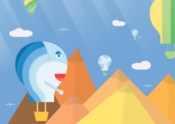 Scene background for balloon festival. Vector illustration in flat style with sunshine. vector art illustration