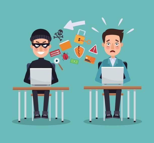 ilustrações, clipart, desenhos animados e ícones de cena cor ladrão hacker programador homem e mesa com laptops, impedindo o ataque - roubo de identidade