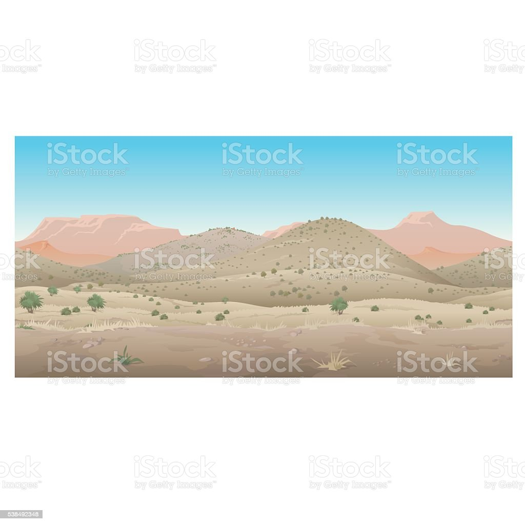 Scene creative, landscape of wild West, Prairie vector art illustration
