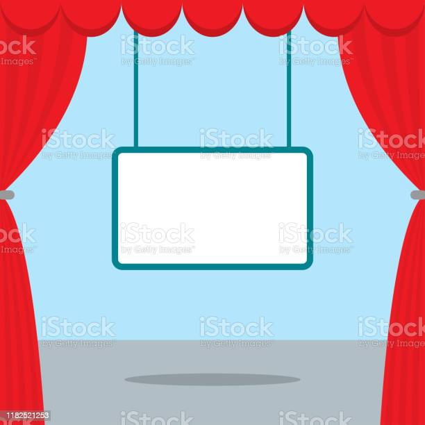 A Scene For Watching Movies Red Curtain Board Ads Stock Illustration Download Image Now Istock