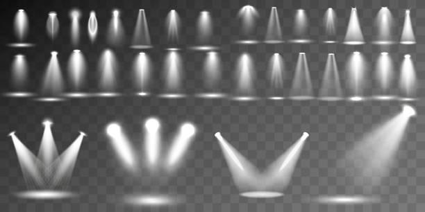 シーン照明異なる図形と予測コレクションは、透明の特殊効果。スポット ライトで明るく照明します。 - 美術館点のイラスト素材/クリップアート素材/マンガ素材/アイコン素材