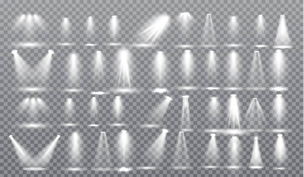Scene illumination different shapes and projections collection, transparent special effects. Bright lighting with spotlights. Scene illumination big collection, special light effects isolated on transparent background. Bright lighting with spotlights for Award Ceremony. Vector Illustration spotlight stock illustrations