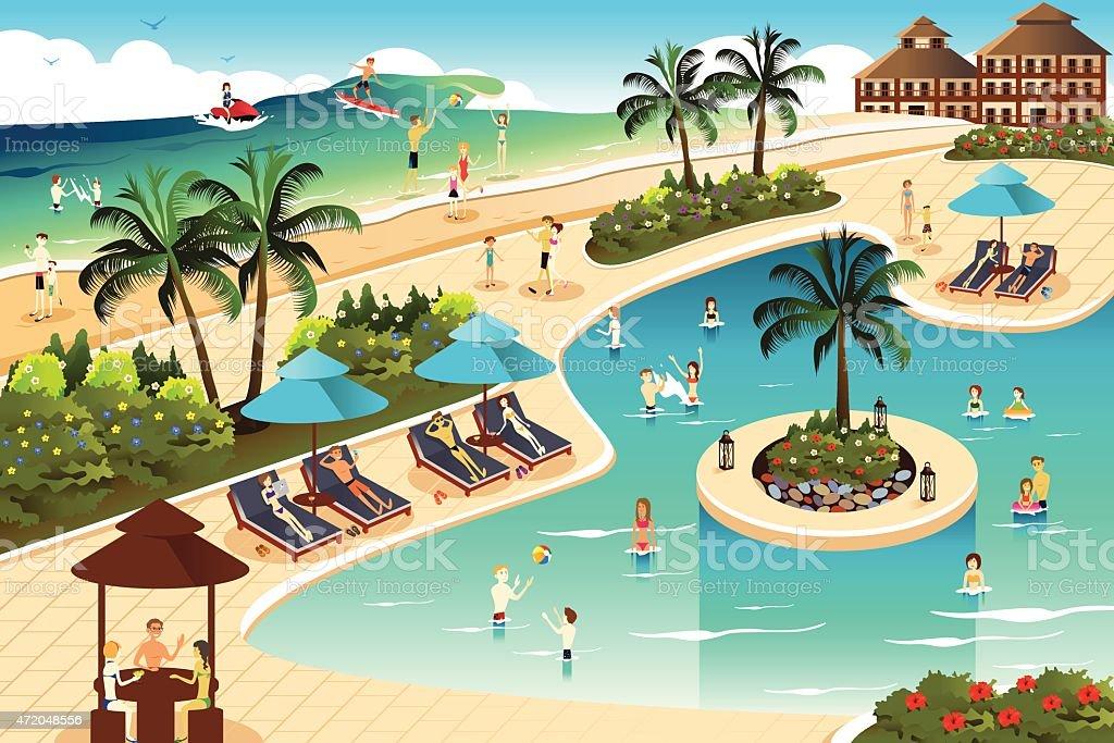 Scene in a tropical resort vector art illustration