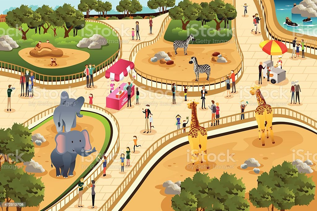Scene in a zoo vector art illustration