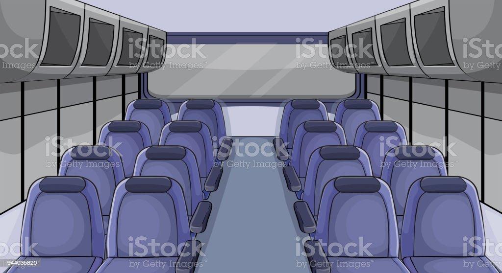 Szene im Flugzeug mit blauen Sitze – Vektorgrafik