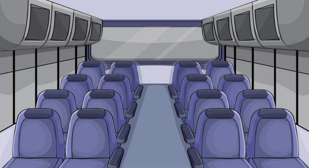 szene im flugzeug mit blauen sitze - fahrzeugsitz stock-grafiken, -clipart, -cartoons und -symbole