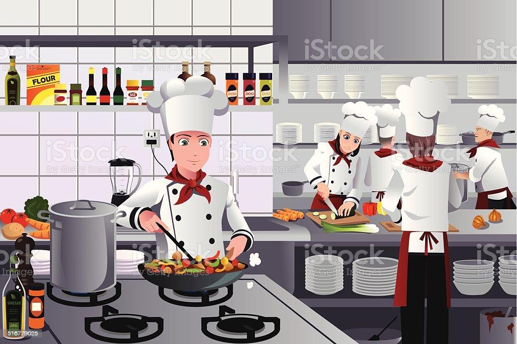 Scene inside restaurant kitchen vector art illustration
