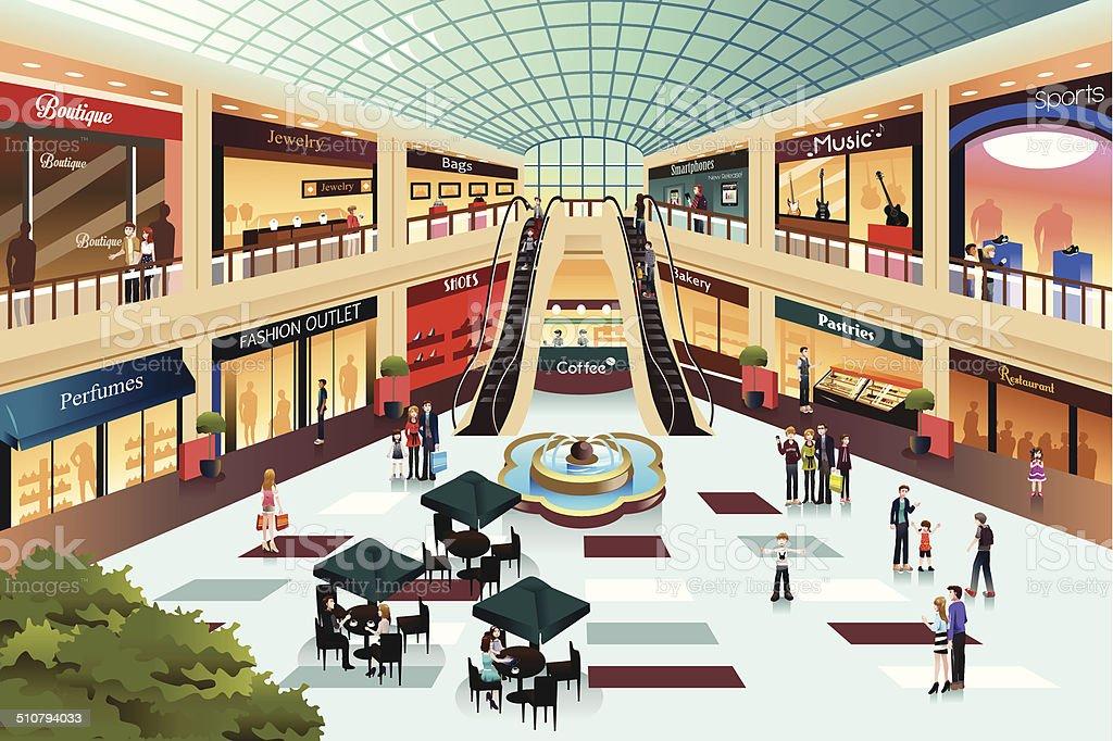 Scene inside shopping mall vector art illustration