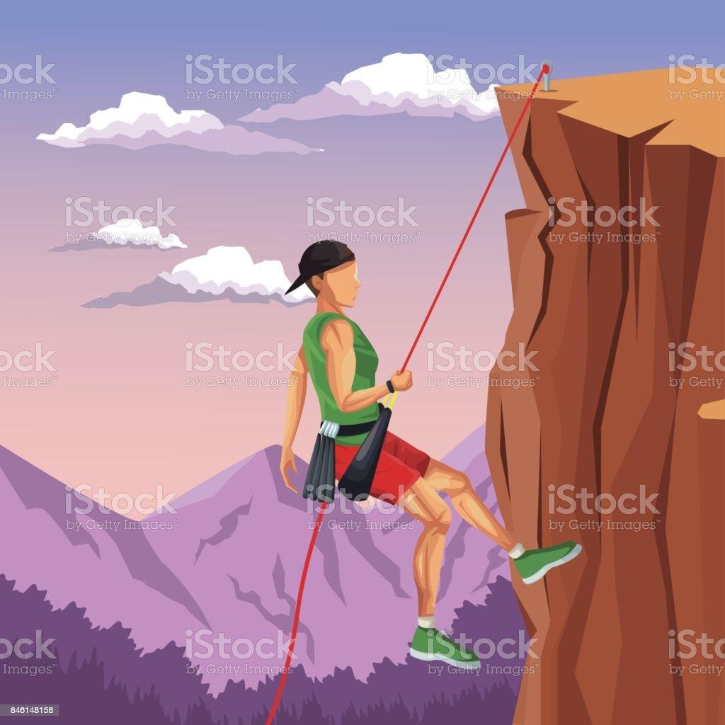 b8a94f3d482 escena paisaje hombre montaña descenso escalada en roca ilustración de  escena paisaje hombre montaña descenso escalada