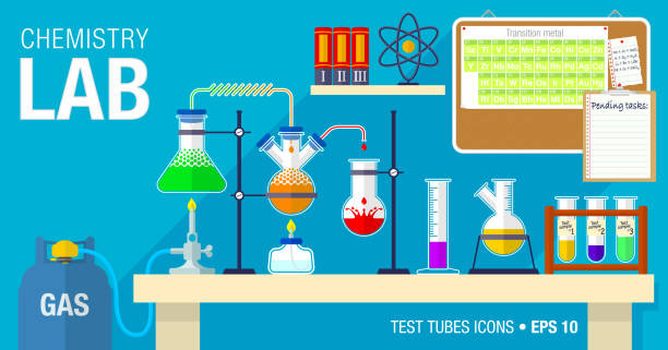 Scene of chemical laboratory with an experiment in process on the table. Chemistry classroom. Scene of chemical laboratory with an experiment in process on the table. Chemistry classroom. Vector illustration design drawing of a glass liquor flask stock illustrations