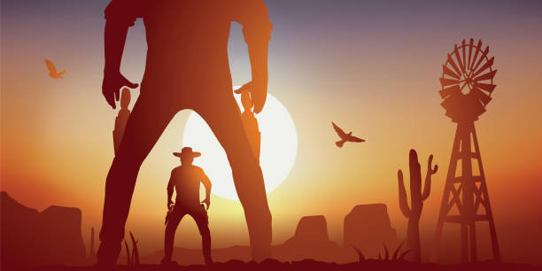 Scene of duel between two cowboys in the American western. vector art illustration