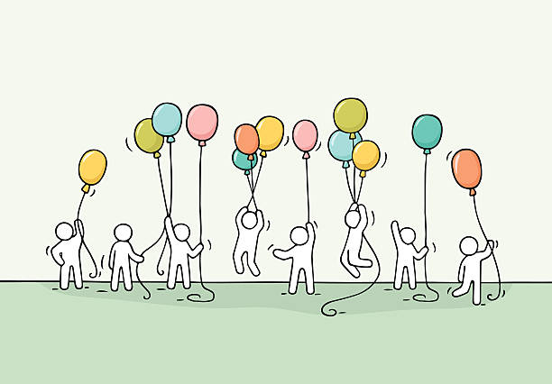 scene of workers with balloons - 社内パーティ点のイラスト素材/クリップアート素材/マンガ素材/アイコン素材