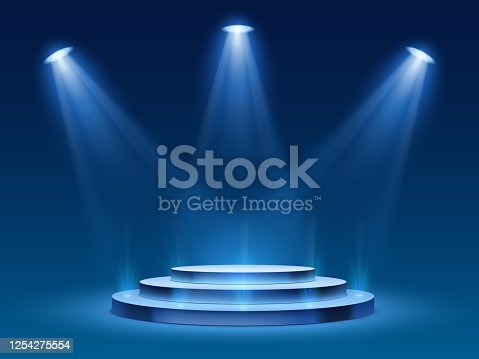 istock Scene podium with blue light. Stage platform with lighting for award ceremony, illuminated pedestal for presentation shows, vector image 1254275554