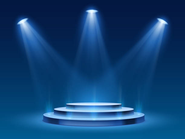 Scene podium with blue light. Stage platform with lighting for award ceremony, illuminated pedestal for presentation shows, vector image Scene podium with blue light. Stage platform with lighting for award ceremony, illuminated pedestal for presentation shows, vector image. Platform with steps and floodlight, searchlight with projector spot lit stock illustrations
