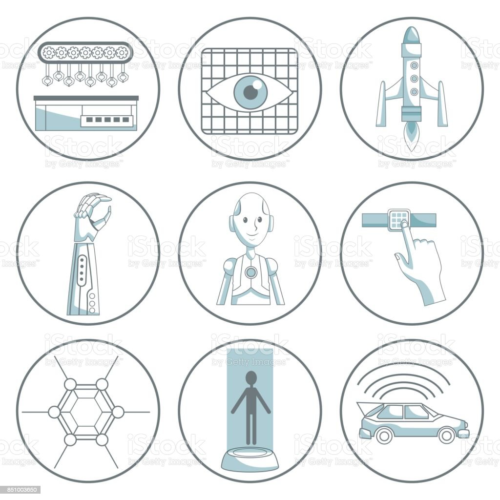 scene silhouette color sections shading of set collection icons tech futuristic elements vector art illustration
