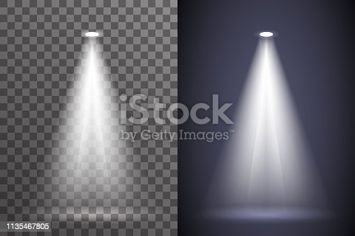 Scene spotlight illumination light ray bright effect electric glow special abstract flare set transparent background vector illustration