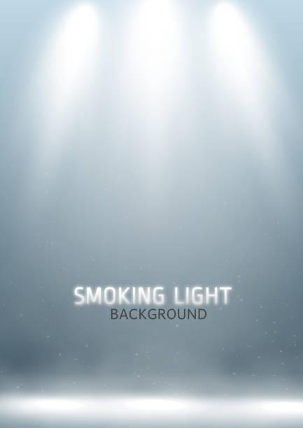 Scene spotlights Stage spotlight beams with smoke effect on a floor light natural phenomenon stock illustrations