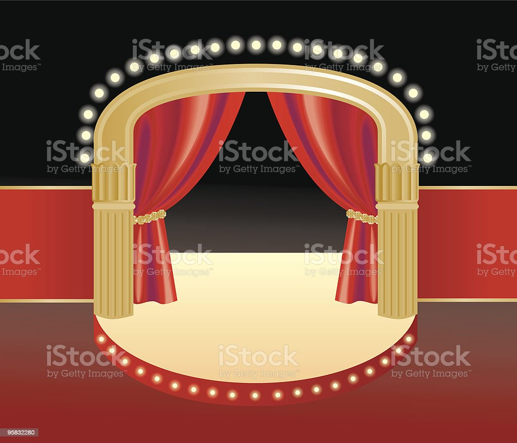Scene with a curtain royalty-free stock vector art