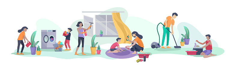 Scene with big family doing housework, kids helping parents with home cleaning, washing dishes, fold clothes, cleaning window, carpet and floor, wipe dust, water flower. Vector illustration cartoon