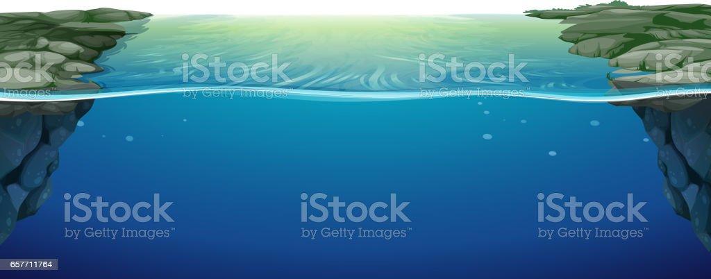 Scene with blue river vector art illustration