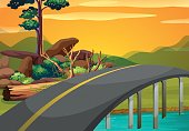 Scene with bridge across the river at sunset illustration