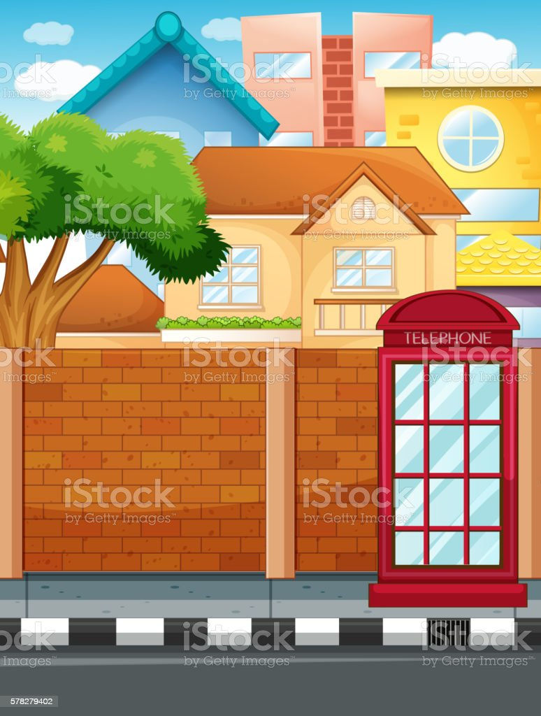 Scene with buildings and road vector art illustration