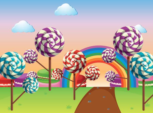 Scene with candy field Scene with candy field illustration candy clipart stock illustrations