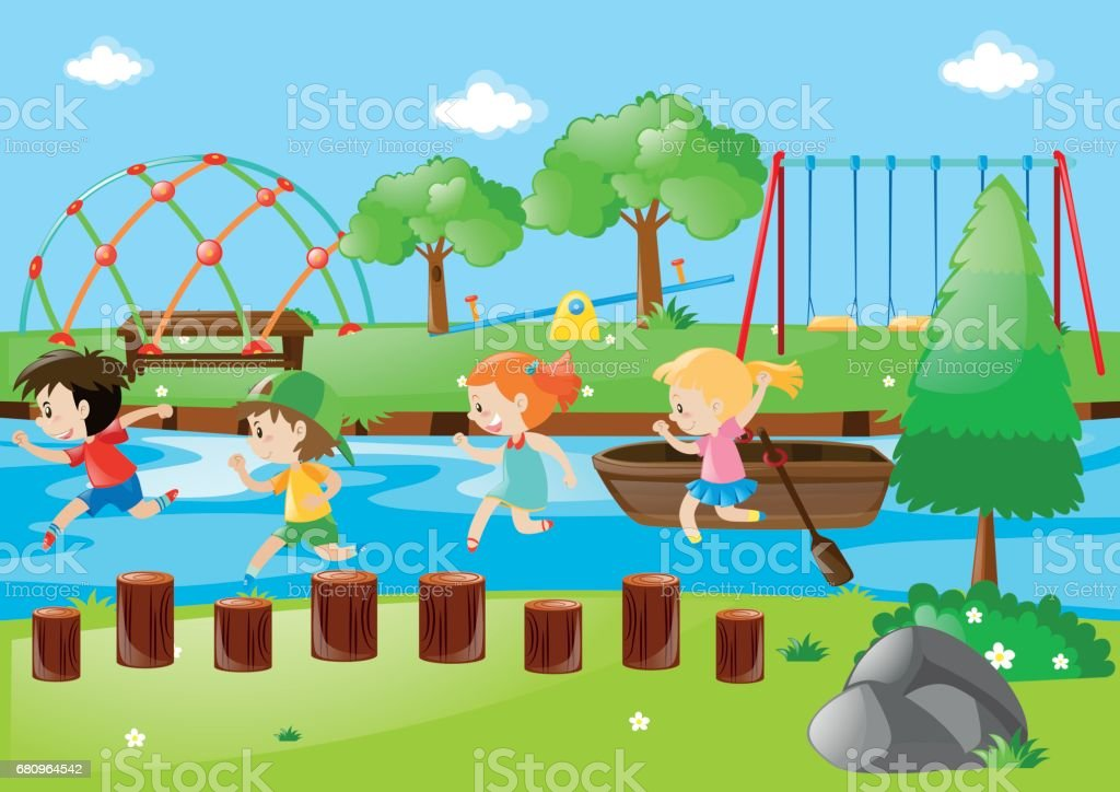 Scene with children running in park royalty-free scene with children running in park stock vector art & more images of activity