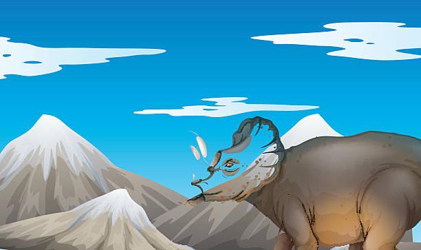 scene with dinosaur and mountains - eiszeit stock-grafiken, -clipart, -cartoons und -symbole