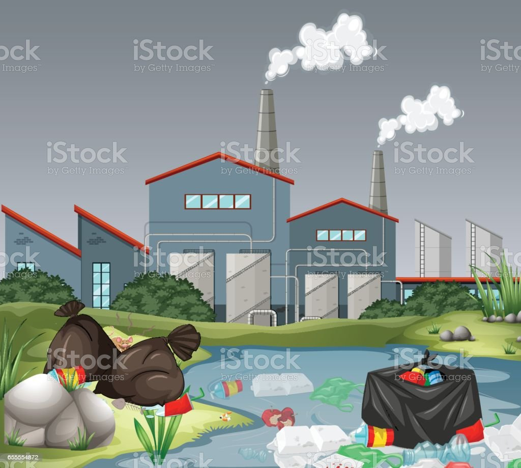 Scene with factory and water pollution vector art illustration