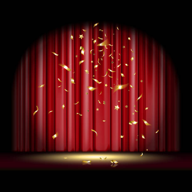 Scene with Falling Confetti theatrical scene with red curtain and falling gold confetti premiere event stock illustrations
