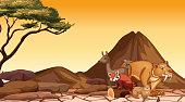 Scene with many animals in the savanna field illustration