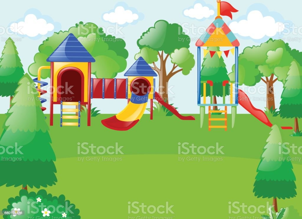 Scene with playground in park vector art illustration
