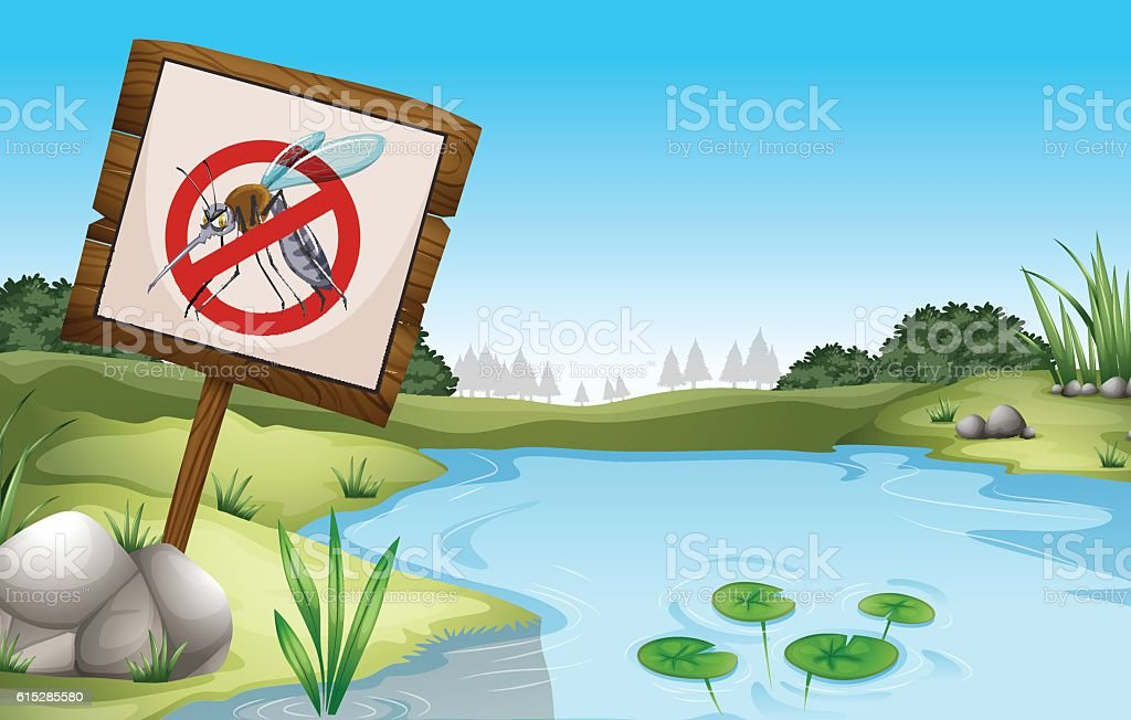 Scene with pond and sign no mosquitoes vector art illustration