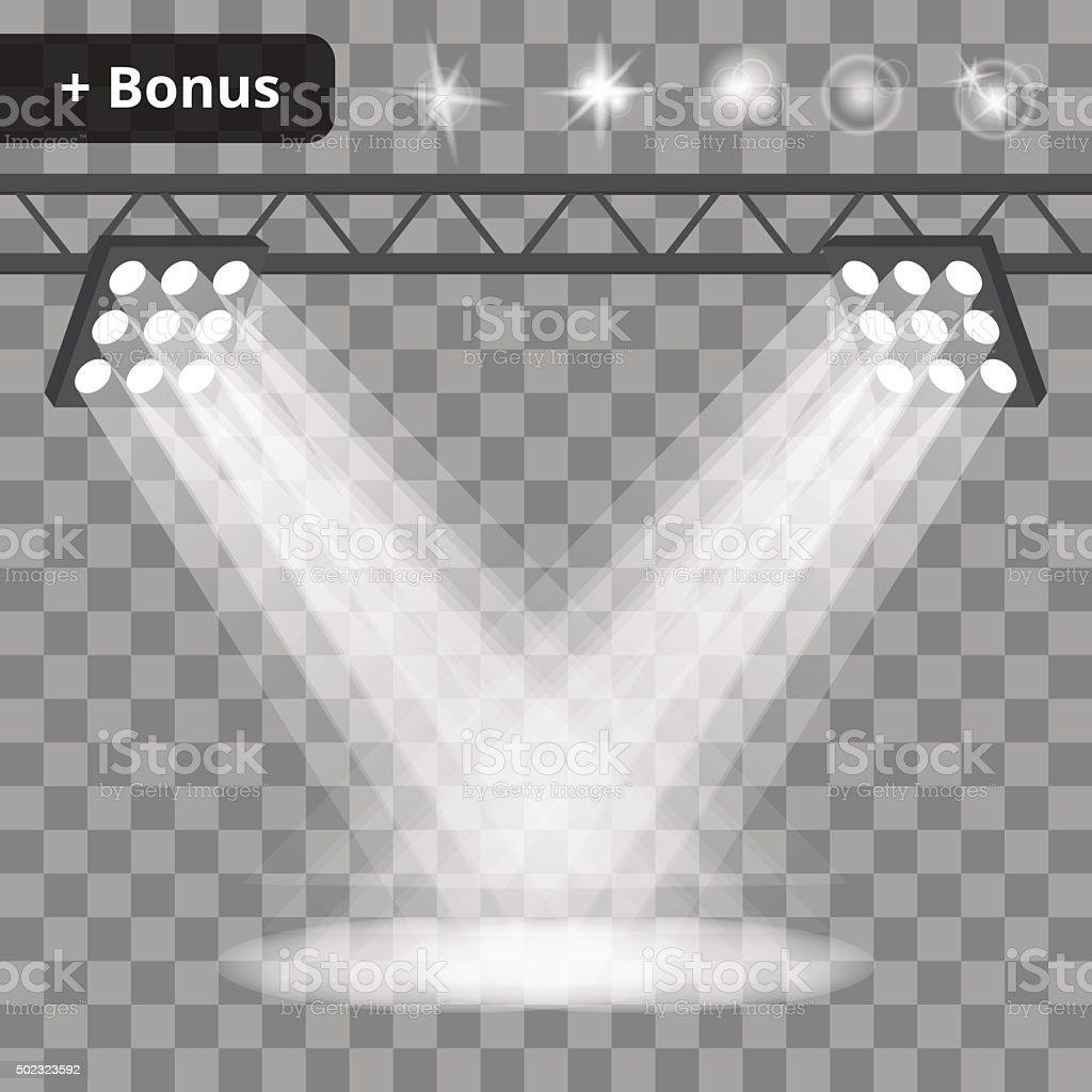 Scene with projectors, spotlights on a transparent background. bonus vector art illustration