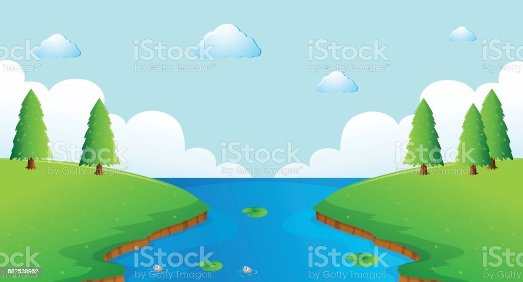 Scene with river and trees vector art illustration
