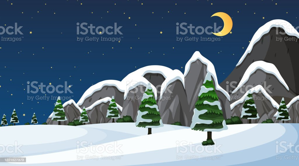 Night Time Snow Wallpaper Clipart