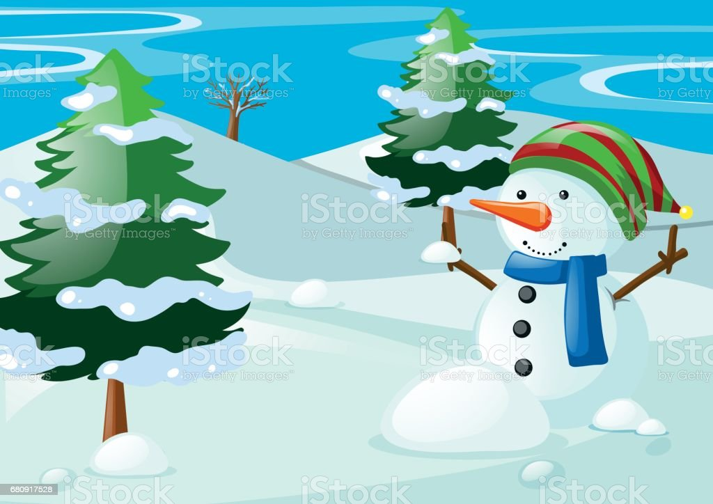Scene with snowman in the snow field royalty-free scene with snowman in the snow field stock vector art & more images of art