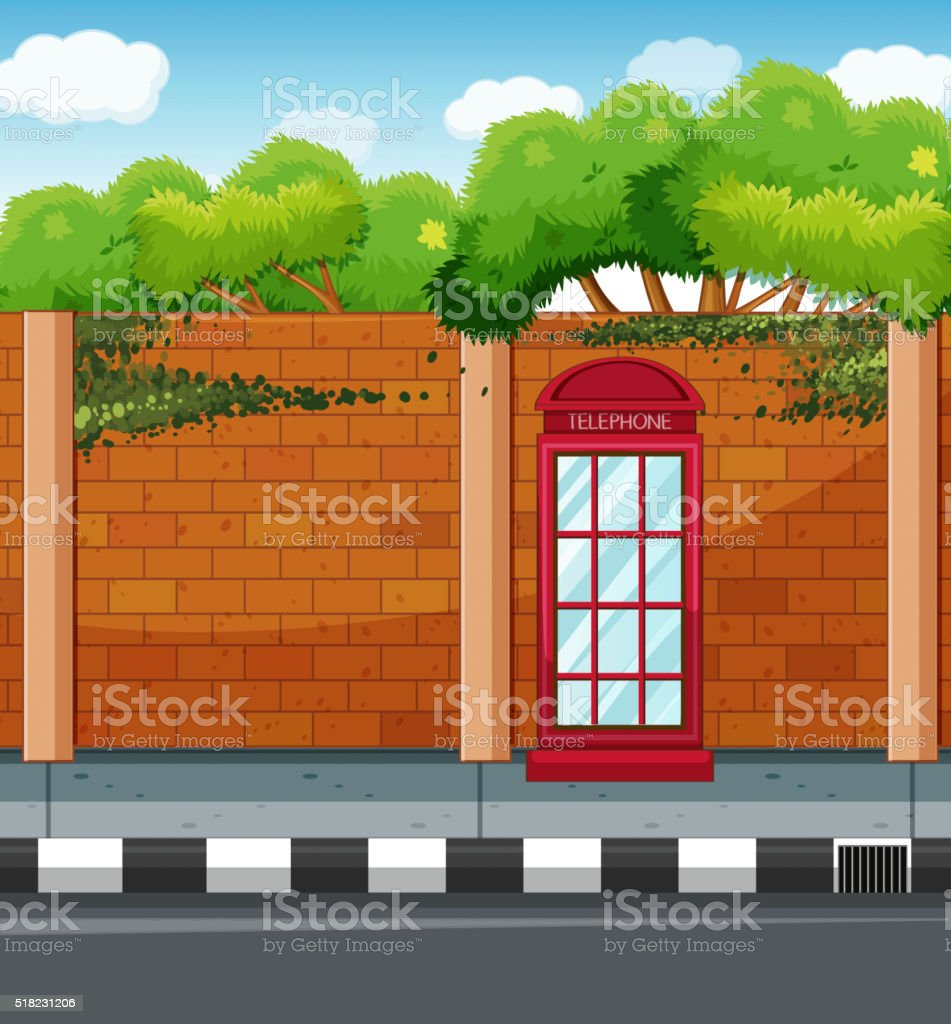 Scene with telephone booth on the sidewalk vector art illustration