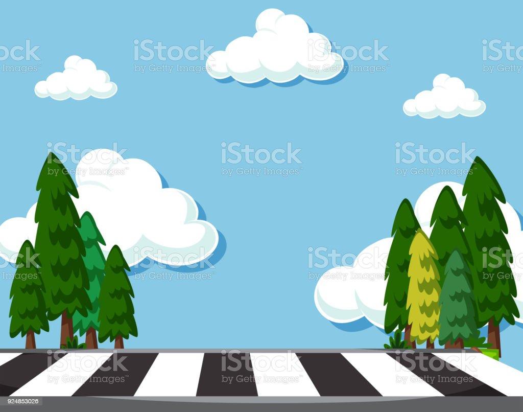 Scene with zebra crossing at daytime vector art illustration