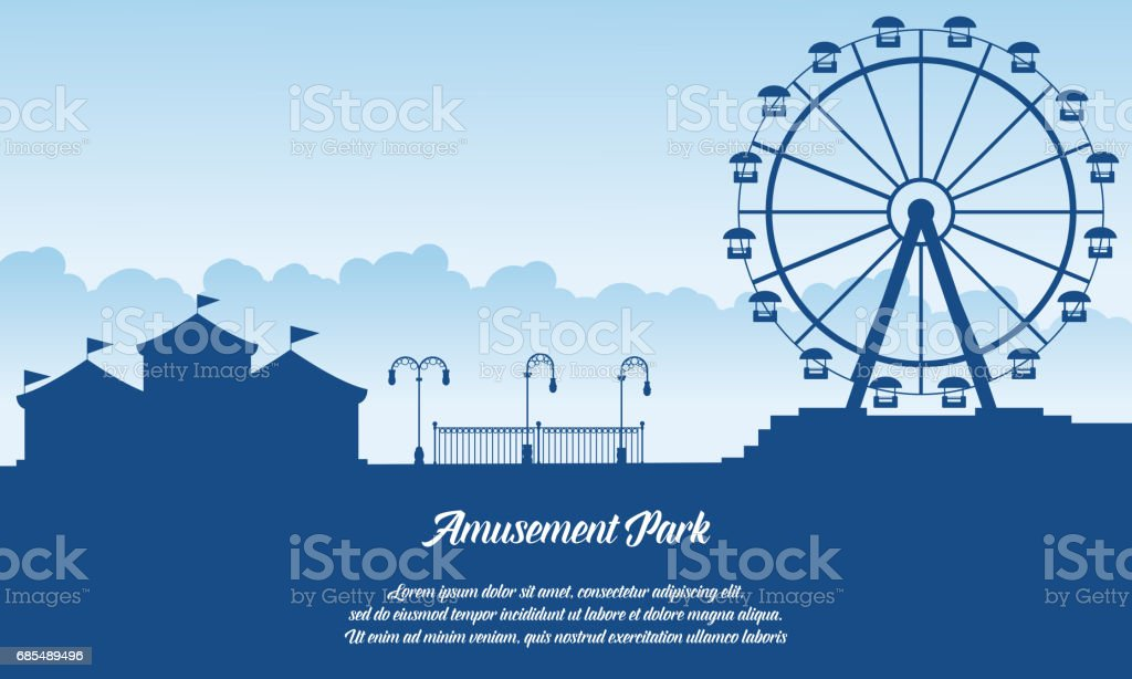 Scenery amusement park style background vector art illustration