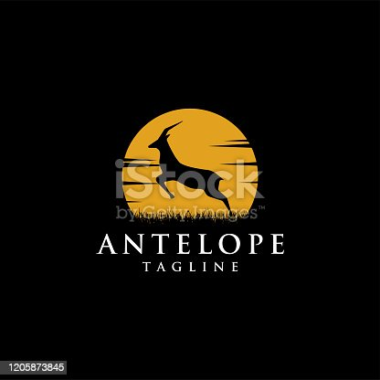Nature logo template of jumping antelope at the moon night