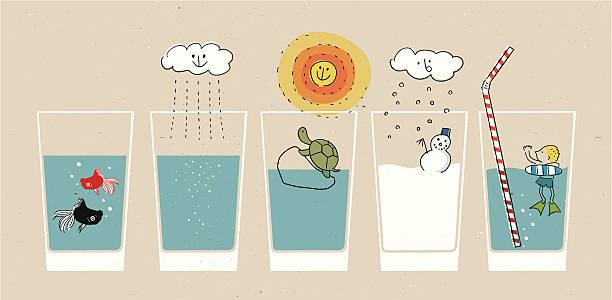 landschaft in glas - fischglas stock-grafiken, -clipart, -cartoons und -symbole