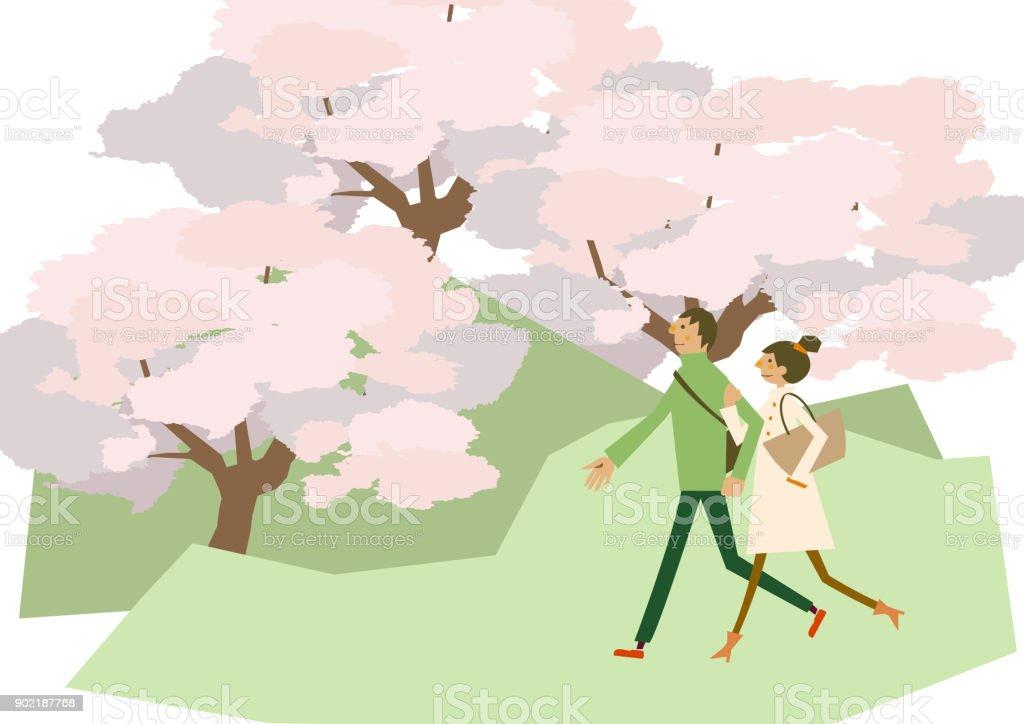 桜の花の風景歩くカップル 春のクリップアート季節のイラスト春の風景