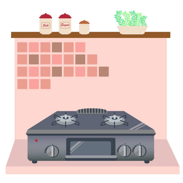 Scenery of the kitchen with cooking utensils vector art illustration