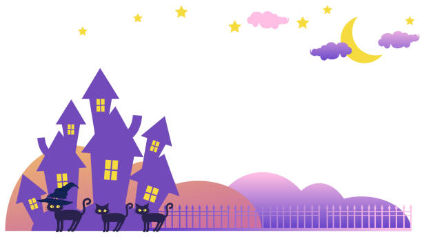 Scenery with a mansion and a black cat vector art illustration