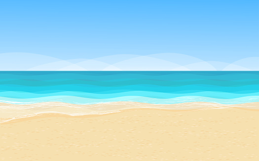 Beautiful scenery with sandy coastline, pure azure sea water and high blue sky. Vector illustration