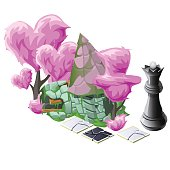 Scenery with pink topiary trees, chess and house