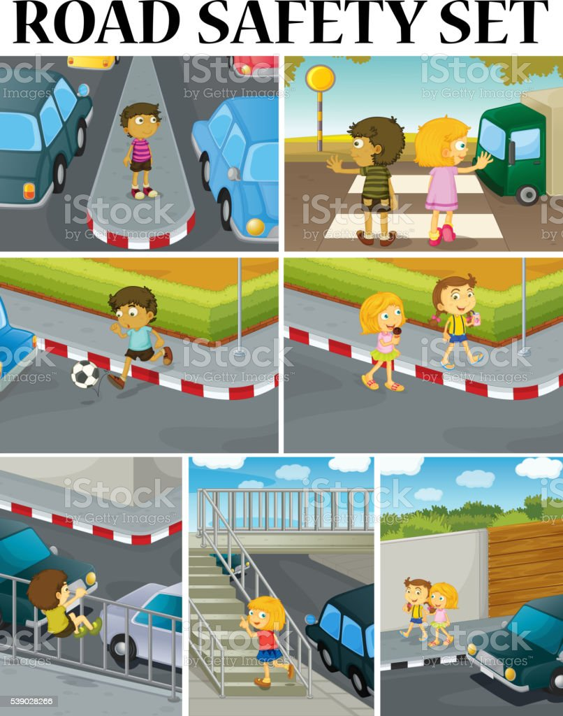 Scenes of children and road safety vector art illustration